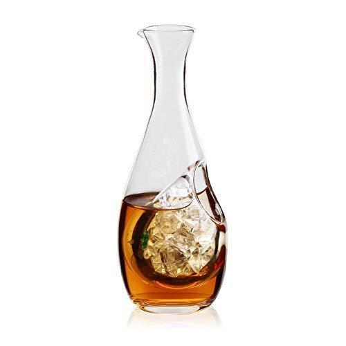 Volwco Decanter per Whisky con Tasca per Ghiaccio, Piccolo Decanter per Vino e Ghiaccio, caraffa in Vetro Trasparente per liquori, Scotch, Bourbon, Vodka, Whisky, Rum, Alcol 3