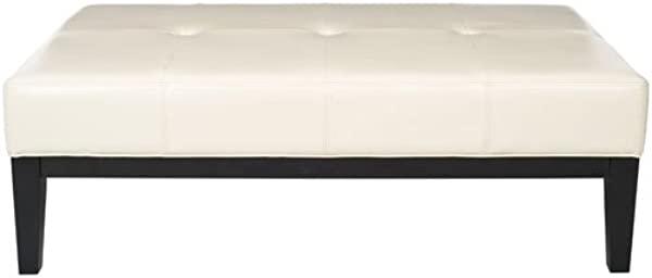 Safavieh Hudson Collection Bleecker White Leather Cocktail Bench