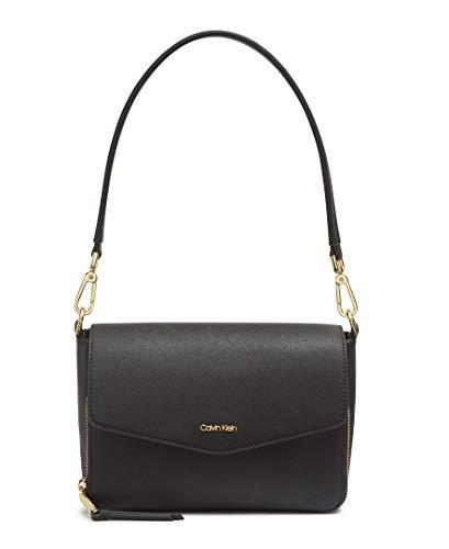 Calvin Klein Ava Saffiano Demi Shoulder Bag, BLACK/GOLD