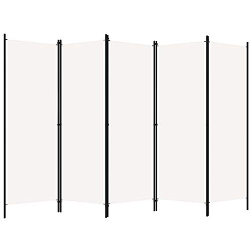 pedkit Biombo Divisor de 5 Paneles Biombo Separador Separador de Ambientes Biombos de Dormitorio Blanco 250 x 180 cm