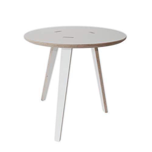 Tojo rund I Couchtisch Modern I Beistelltisch Weiß 50x50x50 I Wohnzimmertisch, Abstelltisch & Salontisch I Runder Tisch für Wohnzimmer, Schlafzimmer & Flur