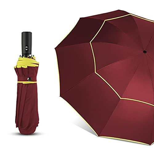 120cm helautomatisk paraply regn kvinnor dubbel stor 3 vikbar vindtät stort paraply män högkvalitativt affärsparaply