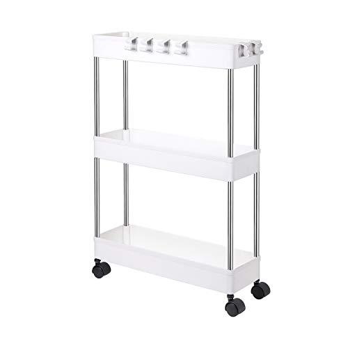 Olliwon Carritos Auxiliares para Cocina y Baño, 3 Alturas con Ruedas, Ideal como Almacenaje Adicional para Cocina, Vestíbulo, Dormitorio o Oficina - Blanco