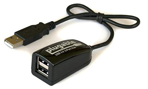 Plugable USB Hub, 2.0 2-Port High Speed Ultra kompakter Splitter (480 Mbit/s, USB 2.0 Windows, Linux, OS X, Chrome OS)
