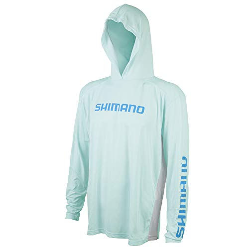 SHIMANO Camiseta de manga larga con capucha Tech Tee Fishing Gear, S, Seagrass