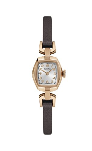 Bulova Heritage Dress 97L154 - Orologio design con cinturino in pelle - donna - nero/inserti color oro rosa