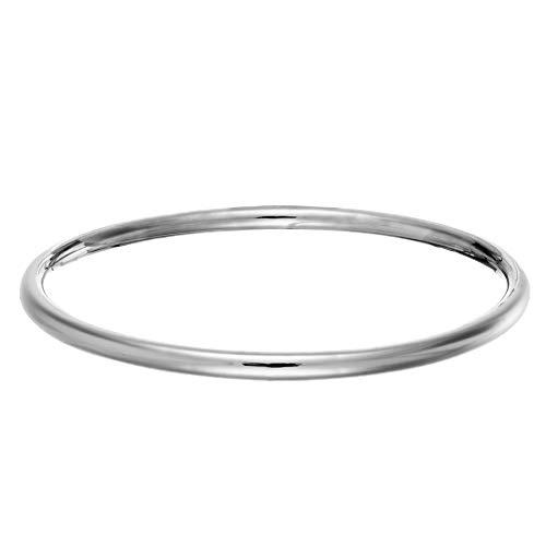 Silverly 4 mm Pulsera Brazalete Rígido Sencillo Tubo Apilable de Mujer en Plata de Ley .925
