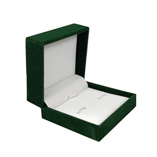 Cabilock Grün Multifunktionshemd Manschettenknöpfe Box Flanell Aufbewahrungsorganisator Manschettenknöpfe Schmucketui Tragbare Vitrine Schmuckgeschenkbox