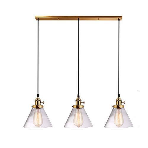 Shade retro Luces pendientes Estilo Industrial 3 Luz Lámpara con colgante de cristal claro Lámparas de Mesa de comedor, sala de estar, dormitorio (Color : Latón)