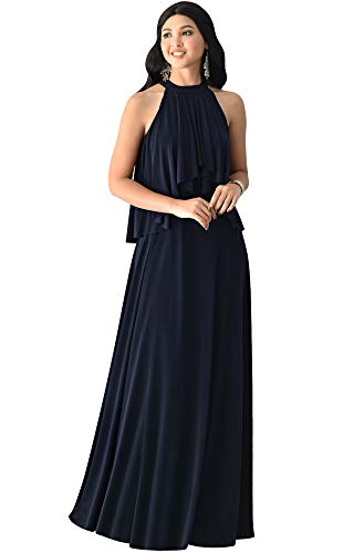 KOH KOH Plus Size Womens Long Sleeveless Halter Neck Flowy Bridesmaid Bridal Cocktail Spring Summer Beach Wedding Party Guest Floor-Length Gown Gowns Maxi Dress Dresses, Dark Navy Blue 3XL 22-24