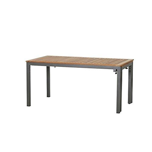 Siena Garden Uittrektafel Geneva, 160x90x76cm, Frame: Aluminium, gepoedercoat in antraciet, tafelblad: teakhout, FSC 100%