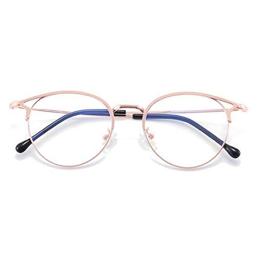 Dollger Blaulichtfilter Brille Anti Blaulicht Brille Katzenauge Computerbrille Ohne Sehstärke Metallgestell Brille Bluelight Filter Pc Gaming Brille Damen Roségold