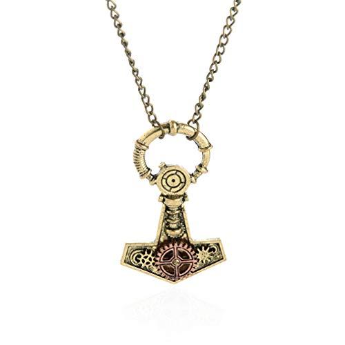Qiyun.z Vintage Hoop Anchor Key Watch Reloj Hand Gear Cog Steampunk Boho Chain Collar Joyería Bronce