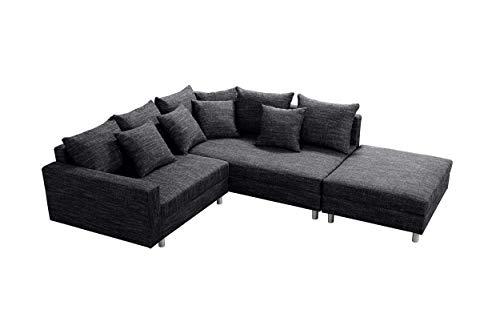 Küchen-Preisbombe Modernes Sofa Couch Ecksofa Eckcouch in Gewebestoff schwarz mit Hocker Minsk R