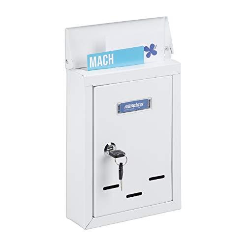 Relaxdays Briefkasten mit Namensschild, aus Metall, mit 2 Schlüsseln, Postkasten schmal, HxBxT: 26,5 x 19 x 6,5 cm, weiß