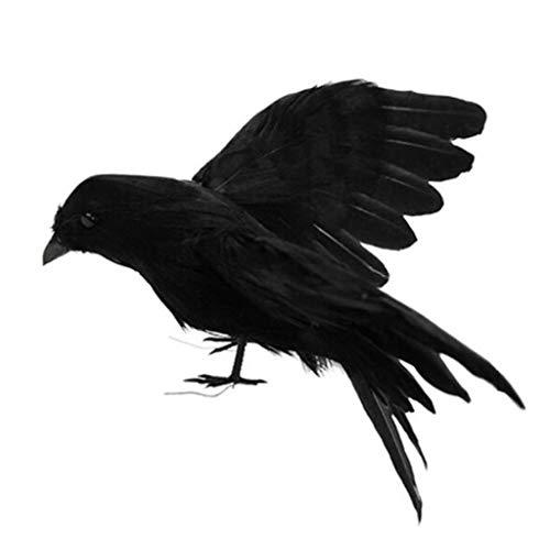 FiedFikt - Cuervo artificial de espuma con plumas para Halloween, casa, jardín, patio, paisaje, decoración para el hogar, decoración de interiores y exteriores, 1 pieza