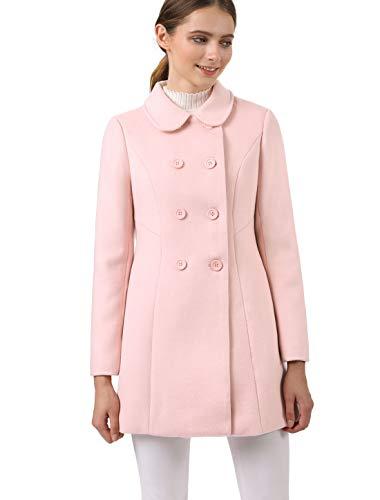 Allegra K Abrigo Collar Peter Pan Trench Doble Botonadura de Mujer Rosa S