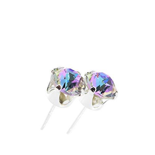 pewterhooter Pendientes de plata de ley hechos con cristal brillante Manhattan Sunset de Swarovski®. Joyero de Londres, hipoalergénico y sin níquel para orejas sensibles.