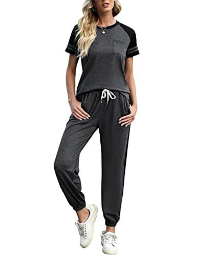 Sykooria Conjunto Chandal Mujer 2 Piezas Algodón con Manga Corta y Pantalón Conjunto Deportivo Mujer Completo para Fitness Running Tenis,Gris oscuro,XL