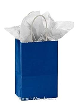 """Buy All Store Paper Shopping Bags 100 Glossy Royal Blue Retail Merchandise 5 ¼ x 3 ½"""" x 8 ½"""""""
