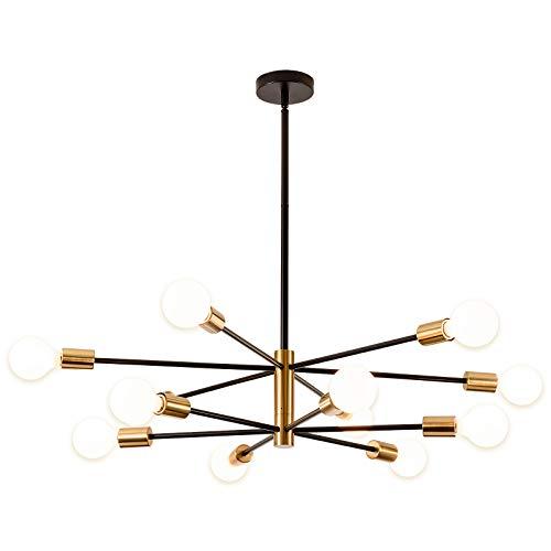 SOZOMO - Lampadario a sospensione a LED in stile nordico, colore nero e oro, per soggiorno, camera da letto, cucina (12 luci)