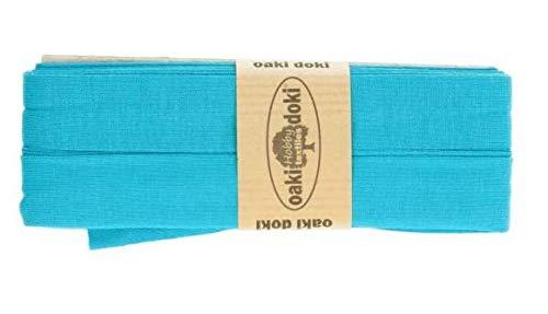 Oaki Doaki Jersey-Einfassband, 3m, Elastisches Schrägband, Breite: auf 2cm vorgefalzt, türkis (472)