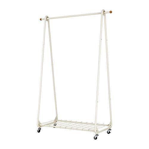 PUCHIKA Perchero con ruedas, con zapatero y ganchos laterales, barra para ropa, acero lacado en beige mate, 105 x 147 x 46 cm
