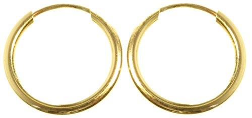9ct Gold Ladies Sleeper Hoop Earrings - 12mm