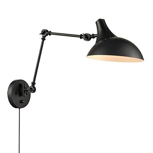 Schwarz Industrie Metall Wandlampe Innen Wandmontage Wandbeleuchtung mit Schalter, Wandleuchte mit Stecker und Kabel, Gelenke Einstellbar Leseleuchte Vintage Wandlicht, E27 Fassung, Max 60W
