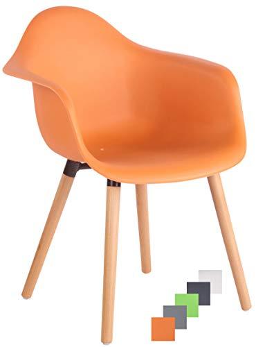 CLP Gartenstuhl Gaffney Mit Kunststoff-Sitzschale I Kunststoffstuhl Mit Rückenlehne I Sitzhöhe Von 45 cm I Buchenholzgestell, Farbe:orange, Gestell Farbe:Natura