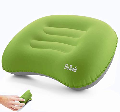 HuTools Inflatable Camping Pillow Backpacking Pillow Lightweight Compressible Travel Air Pillow Ultralight Ergonomic Pillow Portable for Camping with Neck & Lumbar Support (Green)