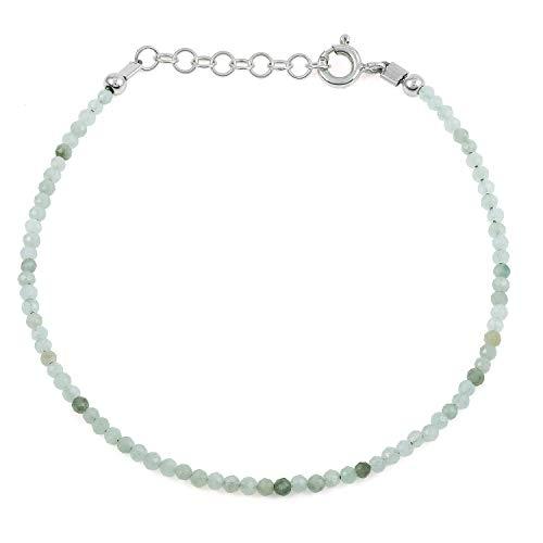 Gemshiner - Pulsera de plata de ley con jade verde para mujer, regalo para mujer, esposa, cumpleaños, aniversario de boda