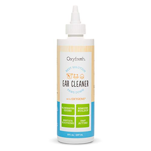 Oxyfresh Advanced Pet Ear Cleaner for Dogs and Cats – Gentle, Soothing and Alcohol Free – Helps wash away wax, dirt and stinky dog ear odors. 8oz