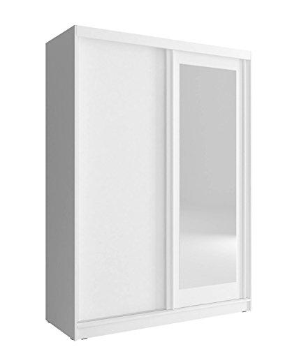 MEUBLO Armoire de Chambre avec 2 Portes coulissantes | Armoire avec Miroir | Penderie (Tringle) avec étagères | Style Contemporain (L x H x P): 150x200x62 Mono 150 (Blanc, 150 cm)