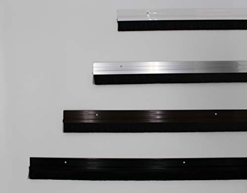 Euro Tische 100 cm Tür-Bürstendichtung zum Anschrauben - 2 in 1 Zugluftstopper & Türdichtung - Aluminium, (schwarz)