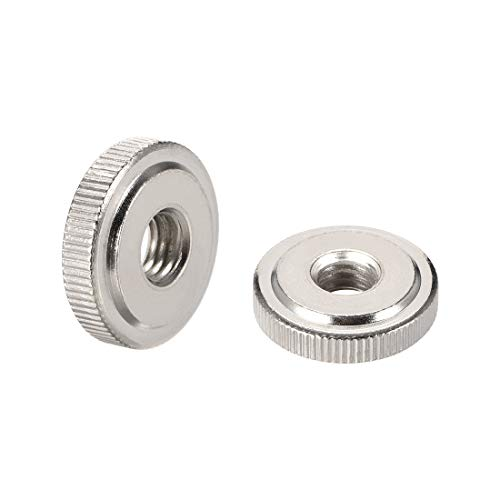 uxcell Round Knurled Thumb Nuts Conector Lock Adjusting Nuts, M8 Female Threaded Thin Type, Nickel Plated, Pack of 5