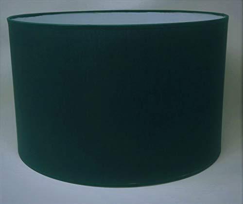 Zylinder Lampenschirm Baumwolle Stoff handgefertigt für Deckenleuchte, Tischleuchte, Stehlampe (Dunkelgrün, 50 cm Durchmesser 20 cm Höhe)
