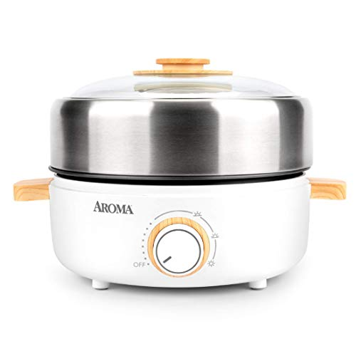 Aroma Housewares AMC-130 Whatever Pot, Indoor Grill, Cooking, Hot Pot with Glass Lid, Bamboo Handles, 2.5L, Stainless Steel/White