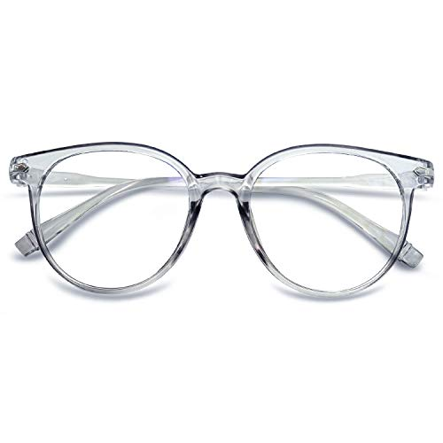 KOOSUFA Blaulichtfilter Brillen Anti Blaulicht Brillen Ohne Sehstärke Damen Herren Computer Gaming Brillen Anti Müdigkeit Leicht Retro Brillengestelle mit Etui (Durchsichtig)