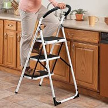 3 Step Ladder Stool Combo with Handgrip – Anti-slip Folding Step Stool – Extra Wide Pedal Step Sturdy Household Ladder