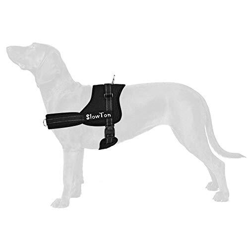 SlowTon Sin tirones Arnés de Perro, Suave Malla Acolchada Ajustable Fácil de Poner y Quitar el arnés con Hebilla de Bloqueo para Perros Grande Mascotas (L, Anillo Dual D)