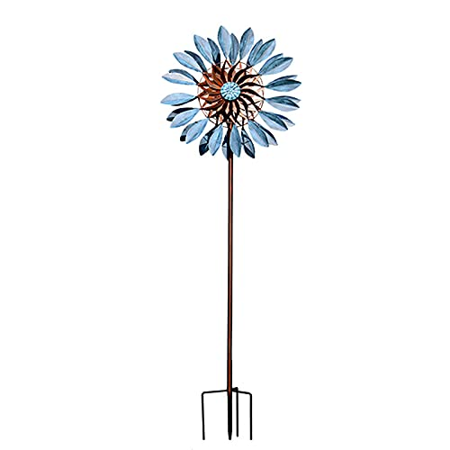 BW-King Windmill Metal Flowers Pinwheel Double Sided Spin Wind Spinners, Iron Art Vintage Windmills, Anti-Rust and Durable, Safe Stable Spin Wind Spinners-Blue