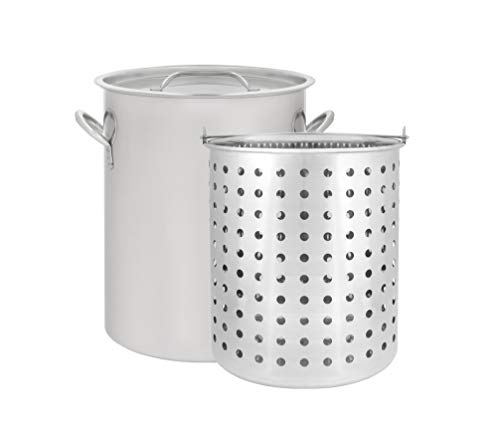 CONCORD 42 QT Stainless Steel Stock Pot w/Basket. Heavy Kettle. Cookware for Boiling (42)