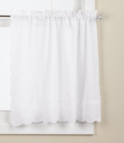 LORRAINE HOME FASHIONS Candlewick Tier Curtain, 60 by 36-Inch, White