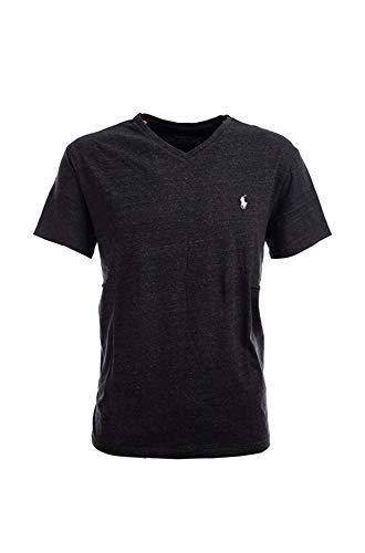 Polo Ralph Lauren Men's Classic Fit V-Neck T-Shirt (Large, Black HTR)