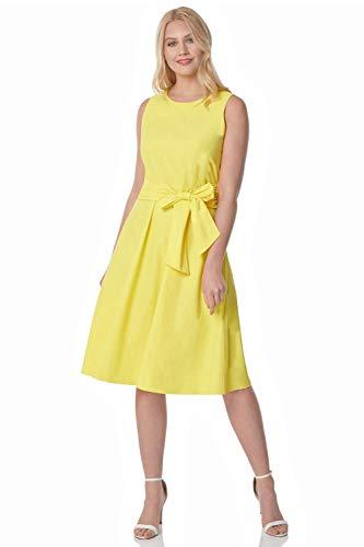Vestido elegante amarillo con lazo a la cintura
