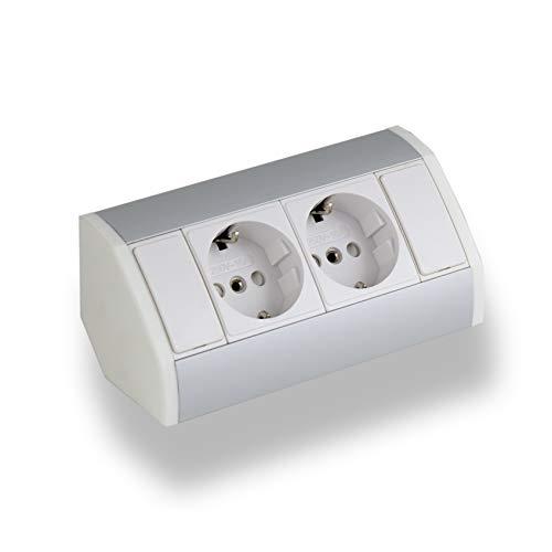 Práctico enchufe de cocina, baño, salón o muebles. Enchufe de esquina ideal para encimera de cocina como enchufe de montaje o enchufe de base, conector de 15 cm