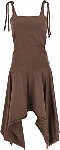 GURU SHOP Vestido convertible Goa Psytrance Festival. Falda Pixi para mujer, verde, algodón, talla: 36, largo y midi marrón 38
