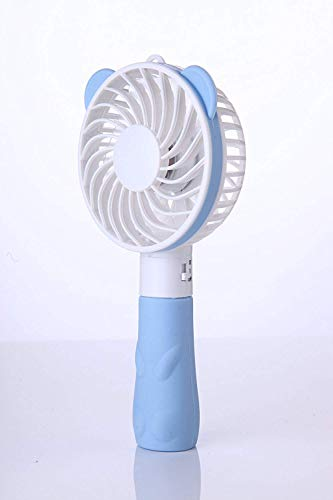 FWQPRA Small Bear Portable Handheld USB Rechargeable Personal Mini Fan with Built-in 1000mA Battery; 4 Blades; 1 Switch; 2 Speeds Adjustable (Multicolour)