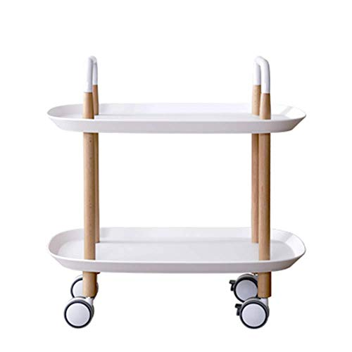 Home&Selected draagbare hoekbank, bijzettafel, 3 lagen, kleine mand, opslag, 57,5 x 37 x 59 cm (kleur: grijs) Wit